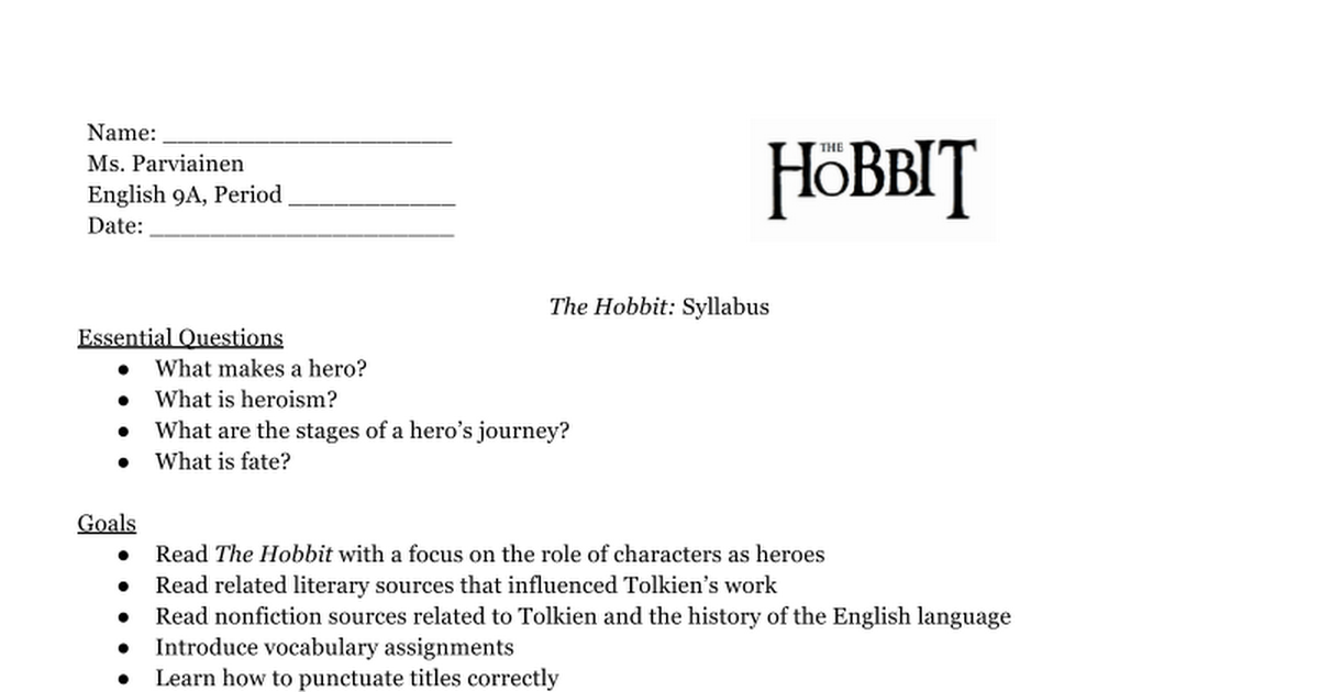 the hobbit syllabus google docs