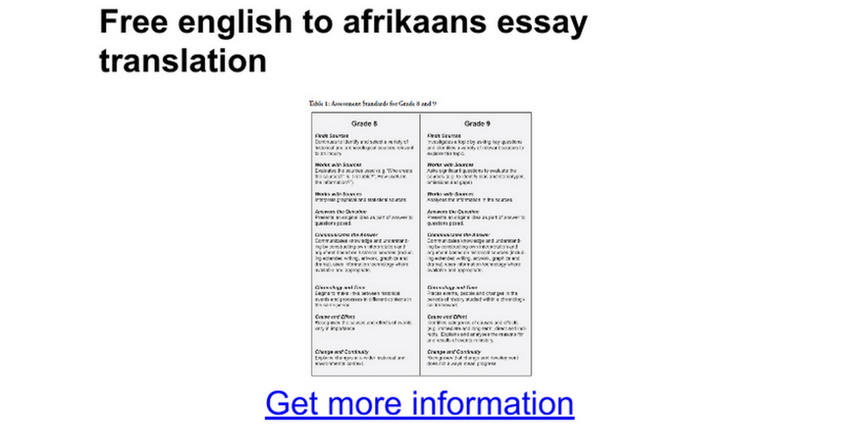 english to afrikaans essay translation google docs