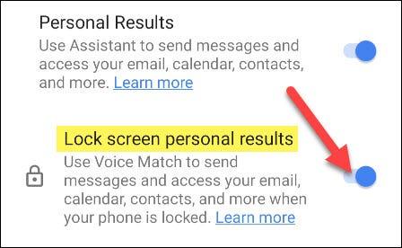 укључите личне резултате за закључани екран