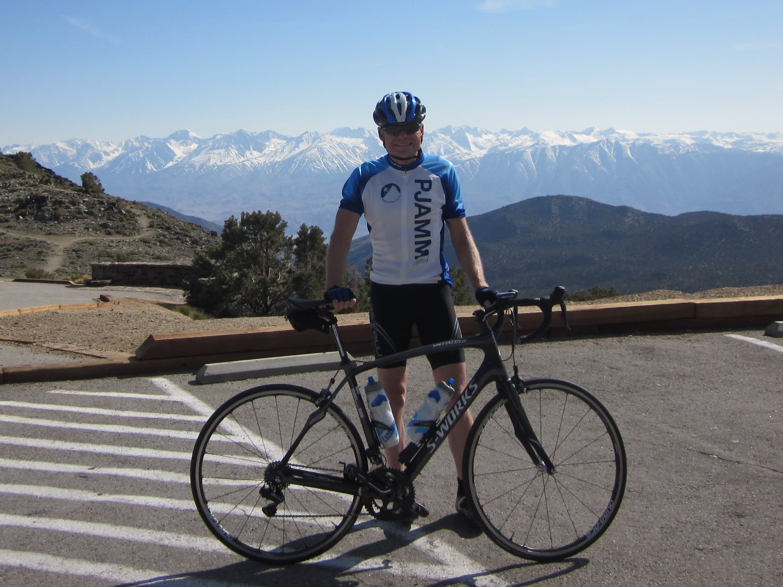 Climb White Mountain Road by bike - John Johnson, cyclists, bicycle, Sierra Nevada mountains in background