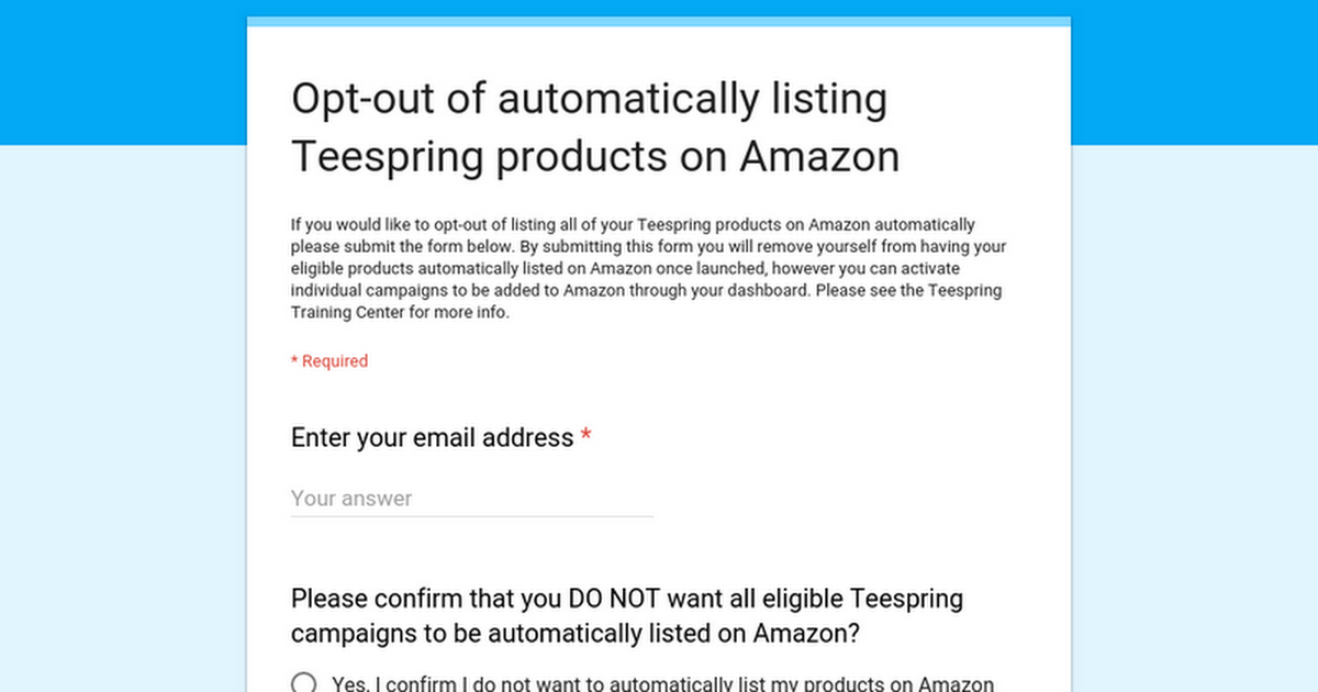 Opt-out of automatically listing Teespring products on Amazon