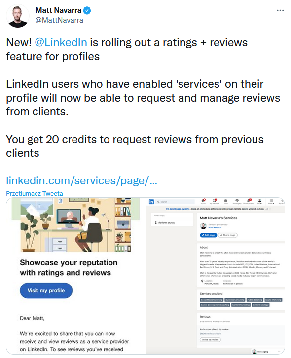 Recenzje na LinkedInie