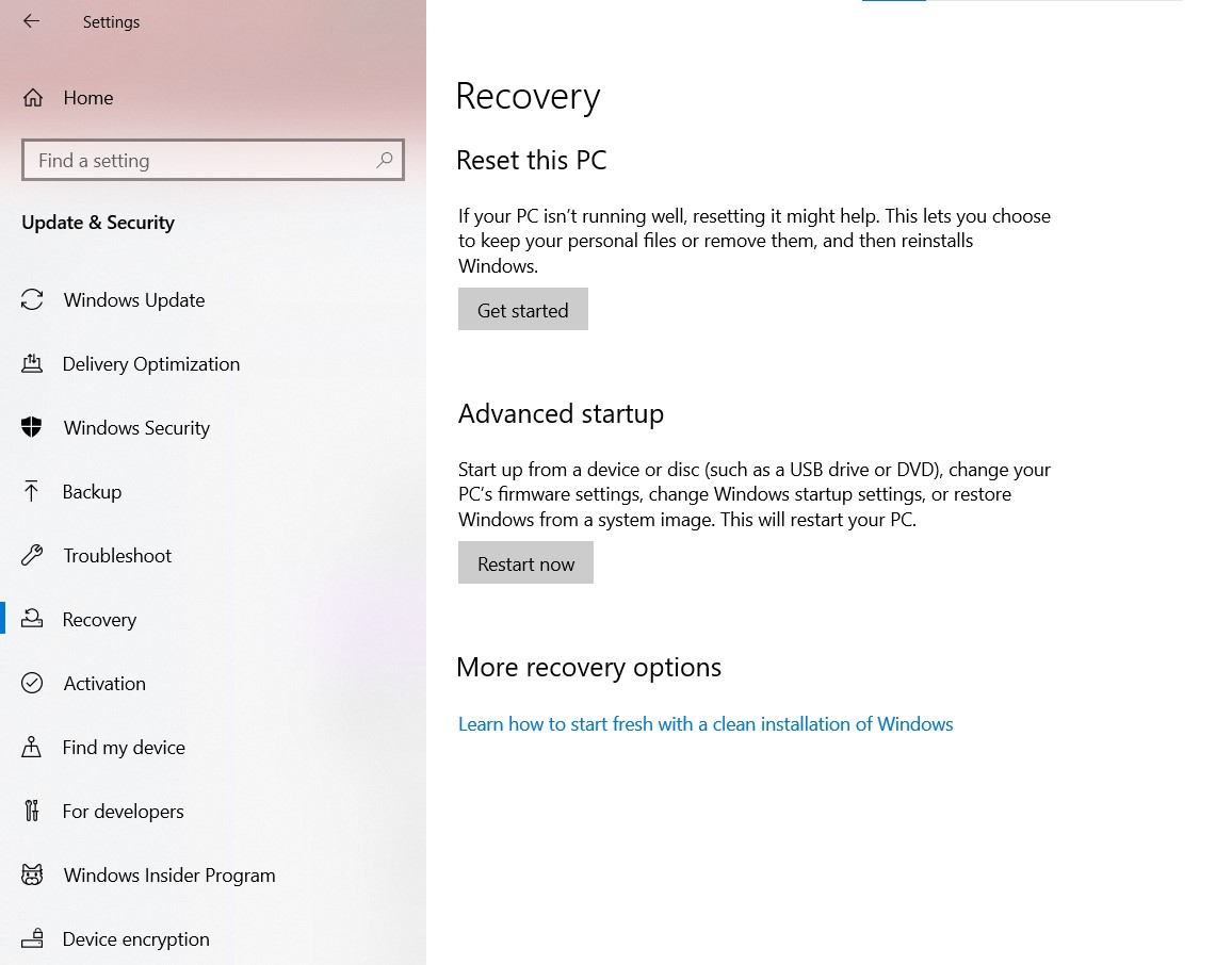 The Recovery Window in Settings