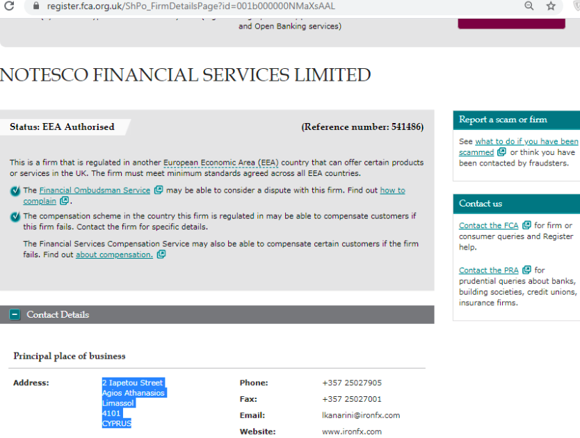 Notesco Financial Services Registration Information