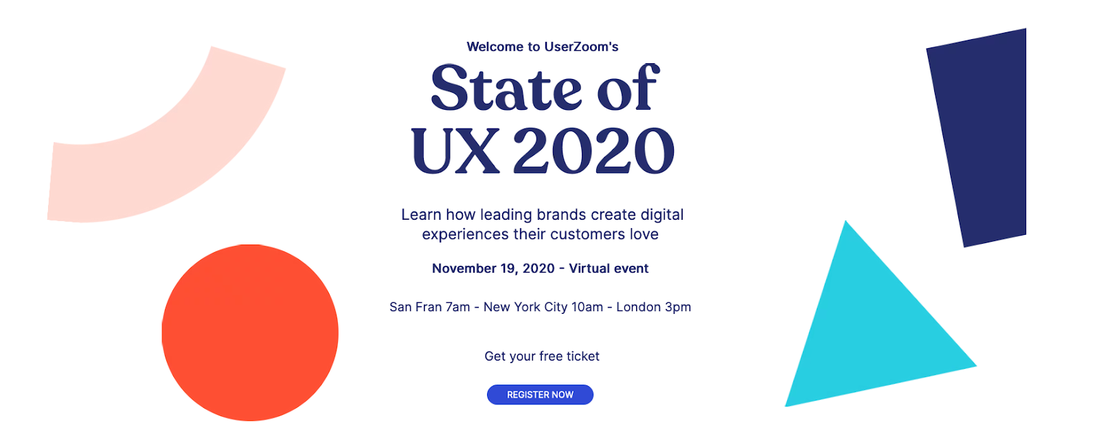 State of UX 2020 banner with event info and colorful shapes.