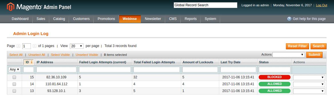 Limit Admin Login | Webinse