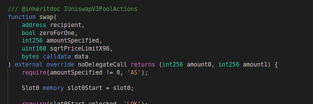 Uniswap v3: Code block for swap function