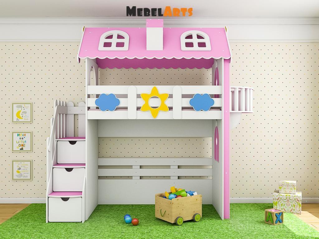 Оформление детской кровати чердака