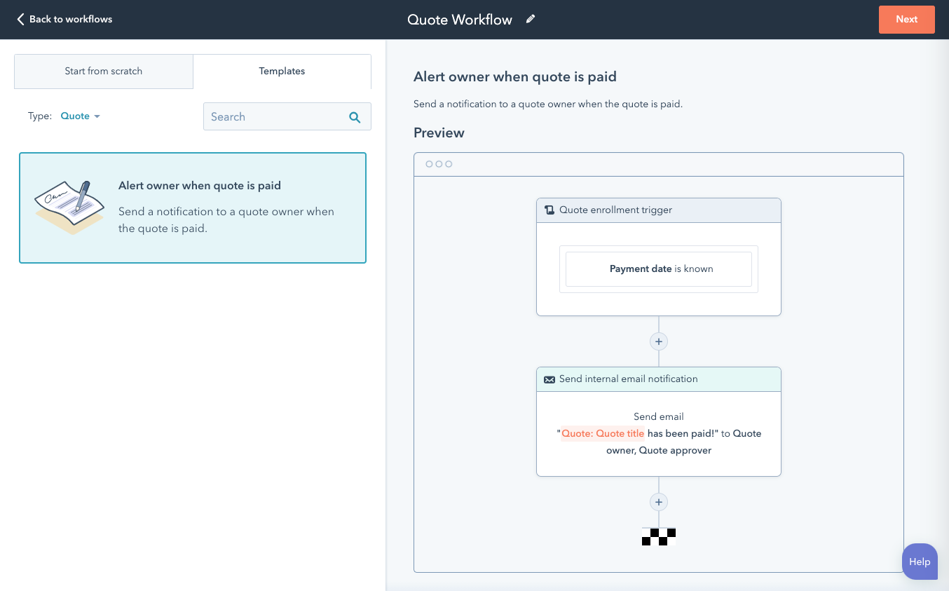 HubSpot workflow for quote reminder