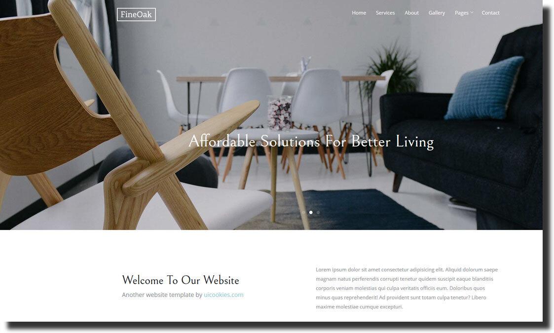 FineOak furniture website and interior design website template