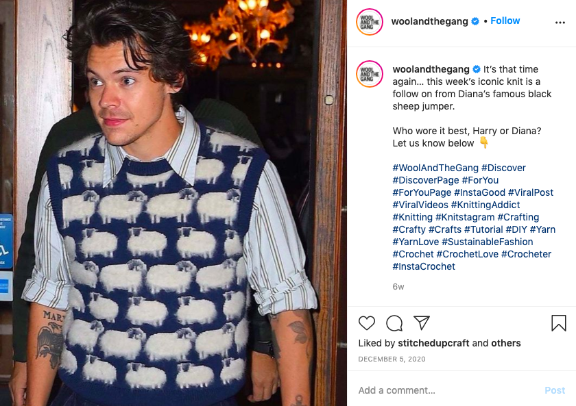 Harry Styles wearing a sheep jumper
