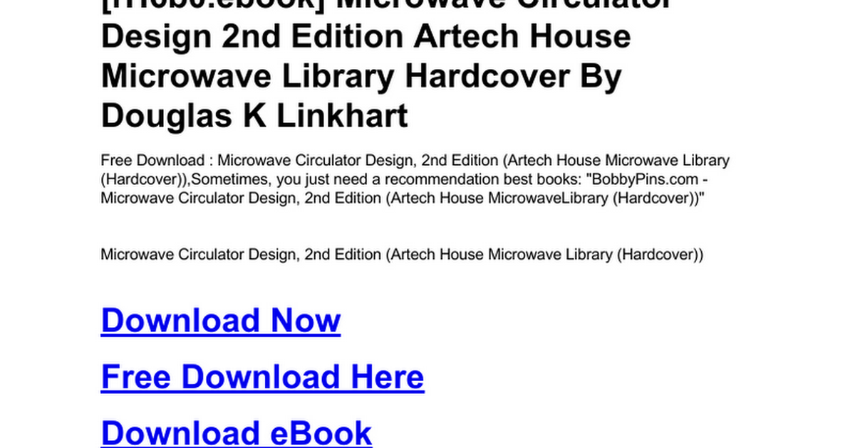 Microwave Circulator Design 2nd Edition Artech House Library Hardcover Doc Google Docs