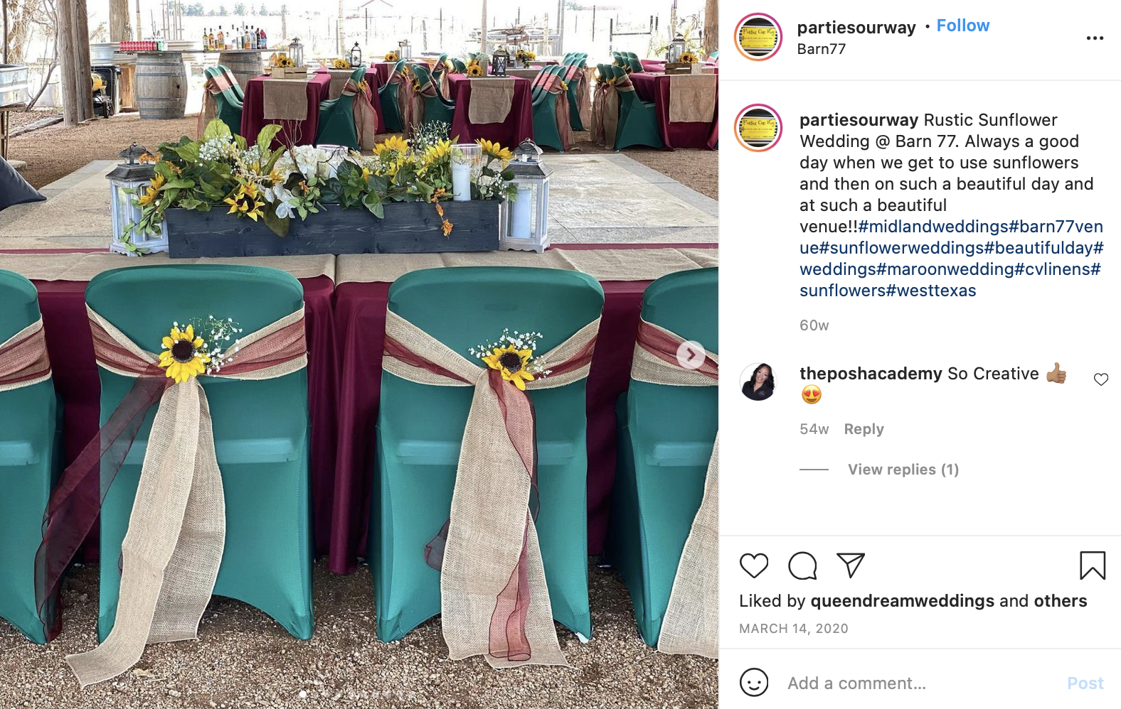 maroon and turquoise wedding table with sunflowers