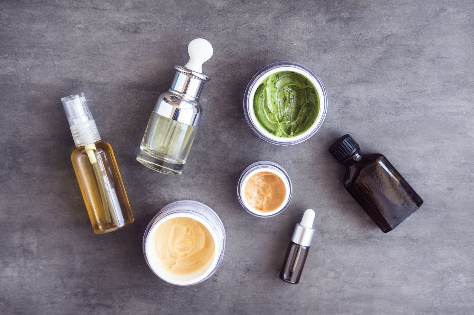Different skincare products with different active ingredients