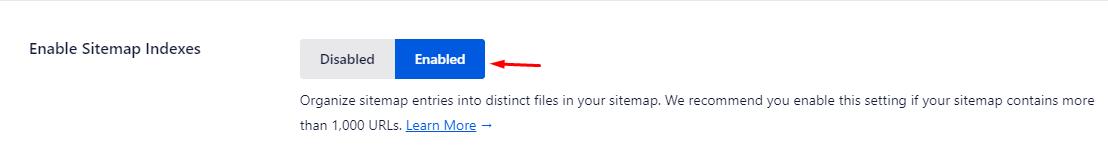 mengaktifkan sitemap indexes