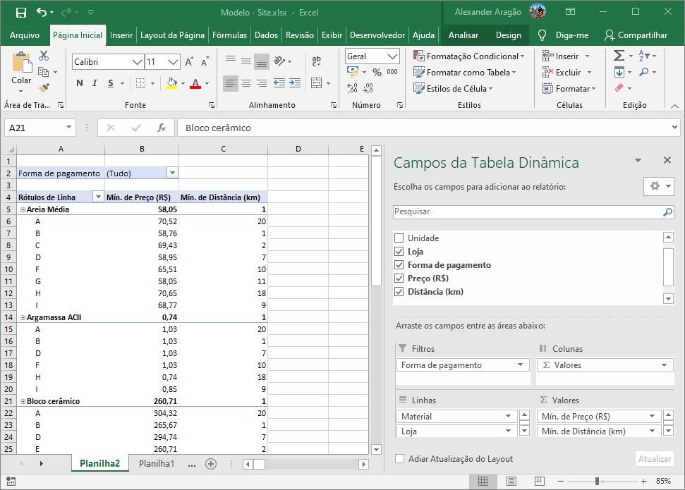 Mudança na apresentação de valor na tabela dinâmica.