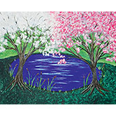 canvas painting design - Spring by the Pond