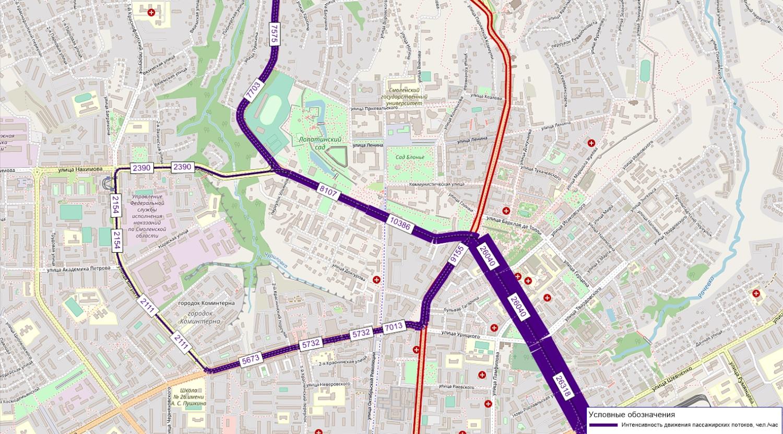 пассажиропотоки трамвая в перспективе до 2025 г. с линией по ул. Дзержинского