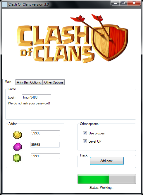 clash of clans cheats tool