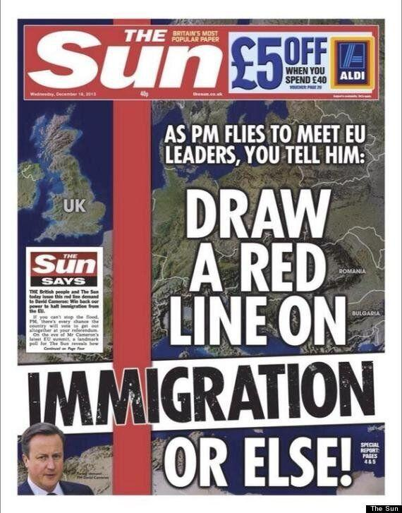 The Sun's Front Page On Immigration With Massive Red Line Across Europe Is  Branded 'Xenophobic'   HuffPost UK