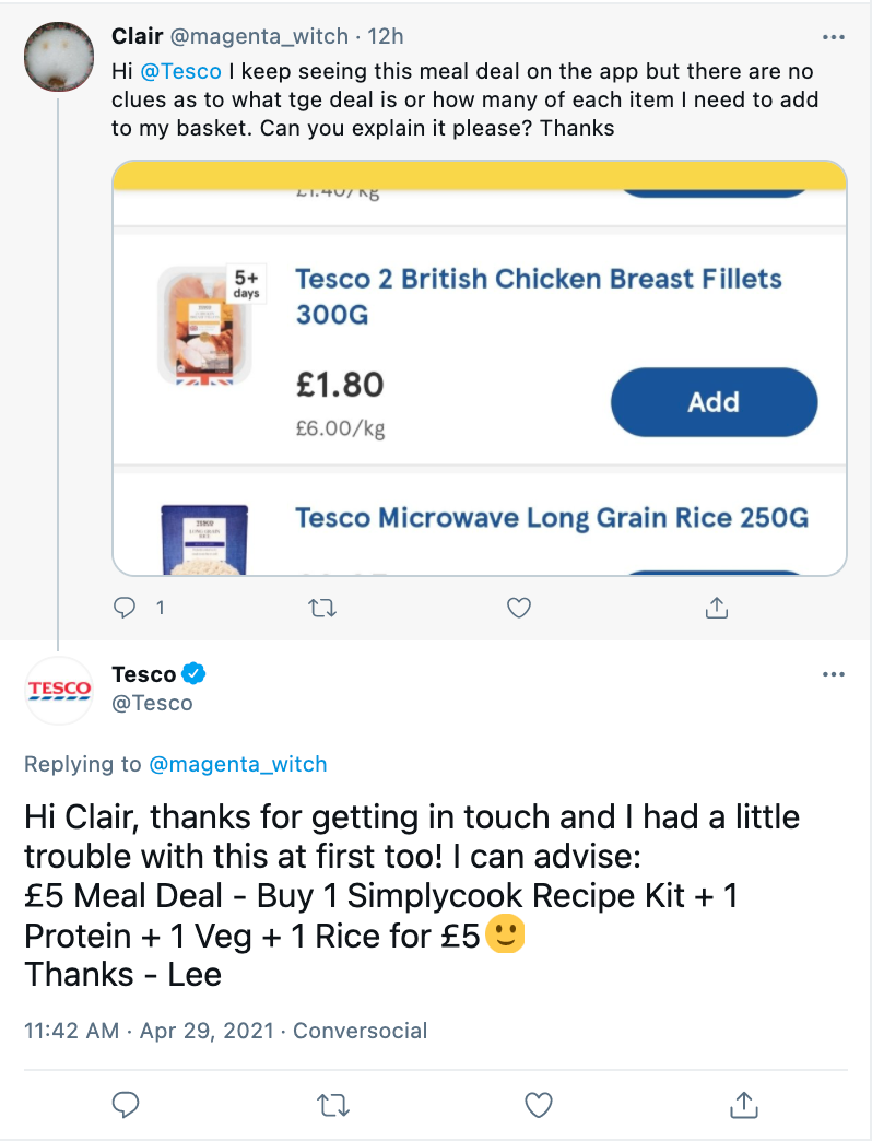 Tesco personalizing a Tweet response to a customer
