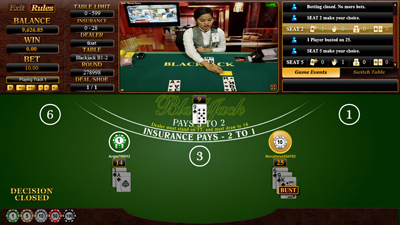 Live Blackjack Entry Screen