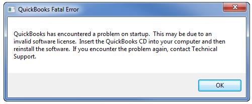 Error 3371, Status Code 11118 - Quickbooks Fatal Error - Quickbooks has encountered a problem on startup