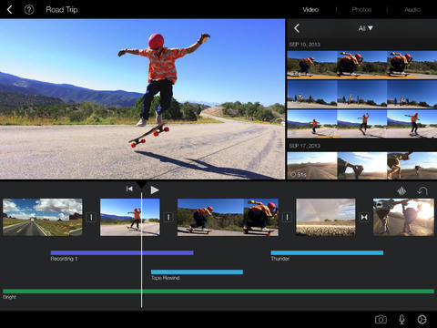 imovie, el editor de video gratuito para el ipad