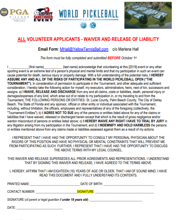 All department volunteers MUST read and e-sign below to be considered as a 2019 Volunteer