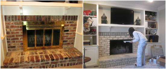 How to paint a red brick fireplace to look like stone - How to make a brick fireplace look modern ...