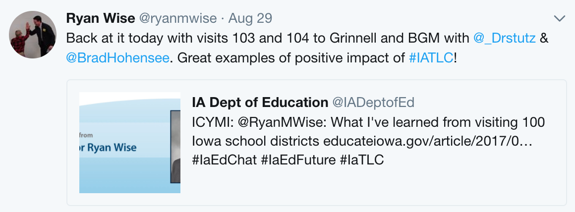 Tweet from IA Dept of Ed Director Ryan Wise about his visit to GNCSD