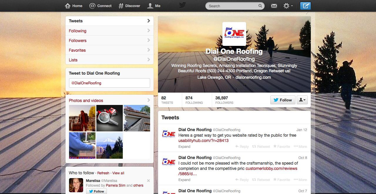 dial one roofing twitter page
