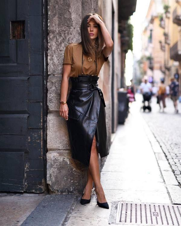 Modern skirts 2020-2021: images of skirts, types and fashions of skirts,  modern pictures with... | Leather skirt outfit, Fashion outfits, Fashion