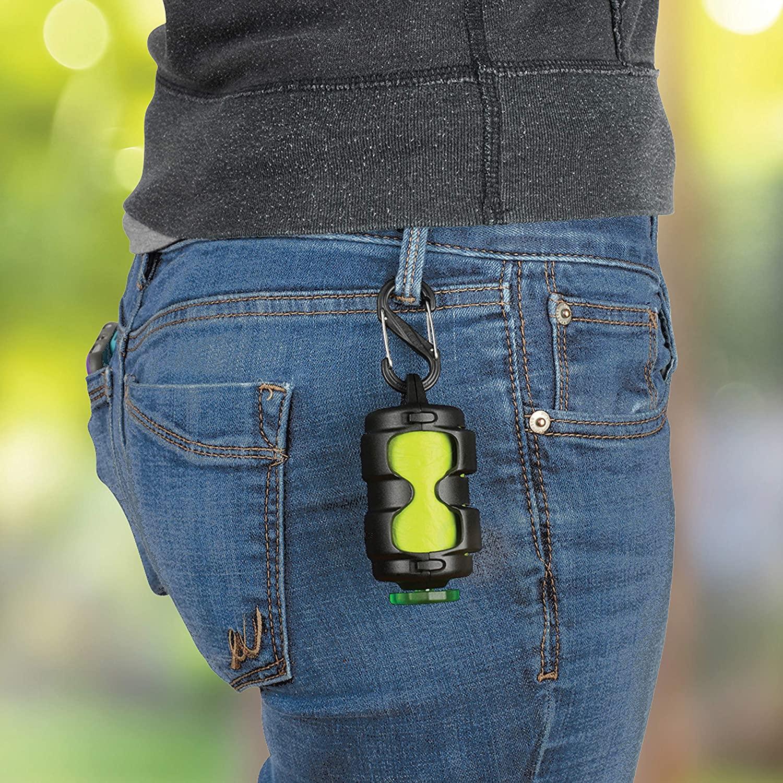 Poo bag dispenser clipped on a belt loop