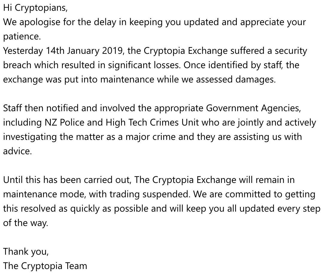 Cryptopia hack statement