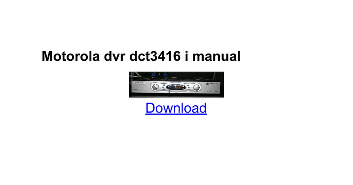 motorola dvr dct6416 iii manual