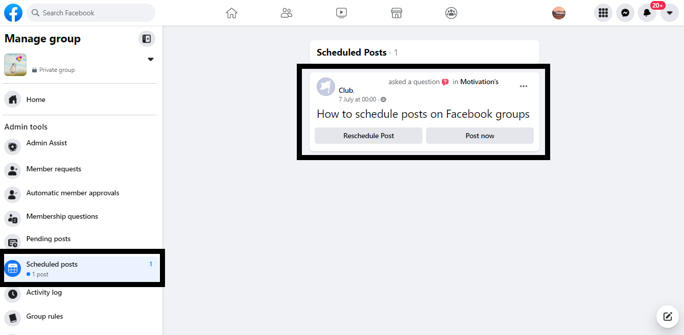 How to schedule posts on Facebook groups natively