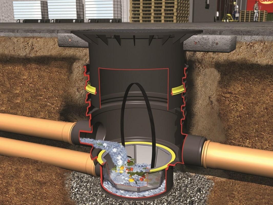 Установка трубы сточной канализации