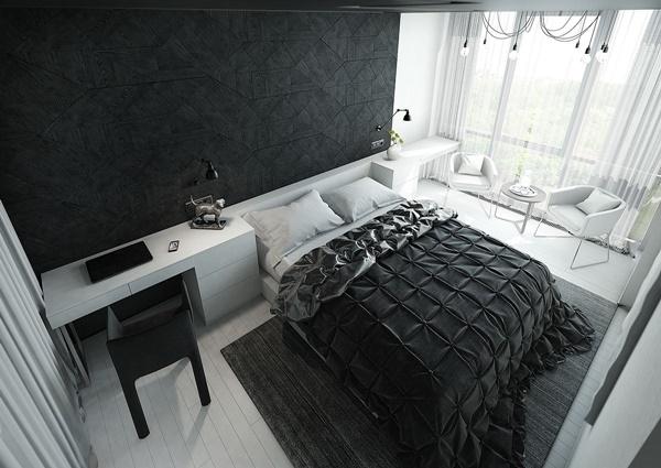 Phòng ngủ màu đen trắng 3