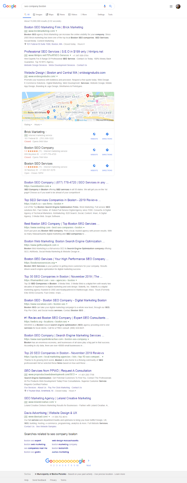 searching for potential freelance writing clients on google