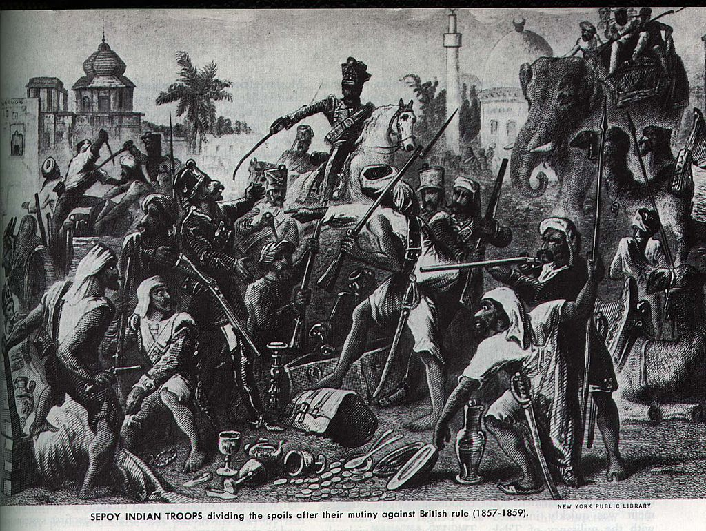 Cartoon illustration of the sepoys, depicted with racial caricature, dividing up loot during the revolt.