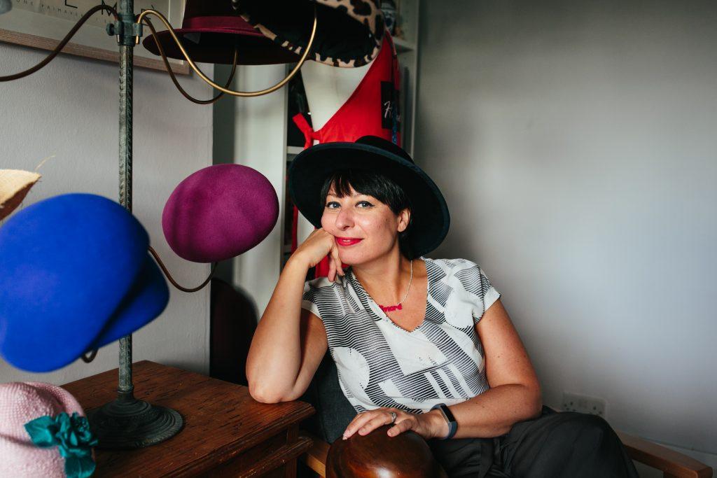 Milliner Roberta Cucuzza pictured in her London Studio