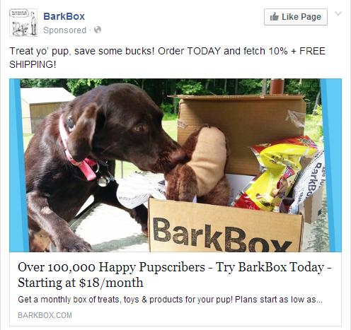 BarkBox Facebook Ad Screenshot