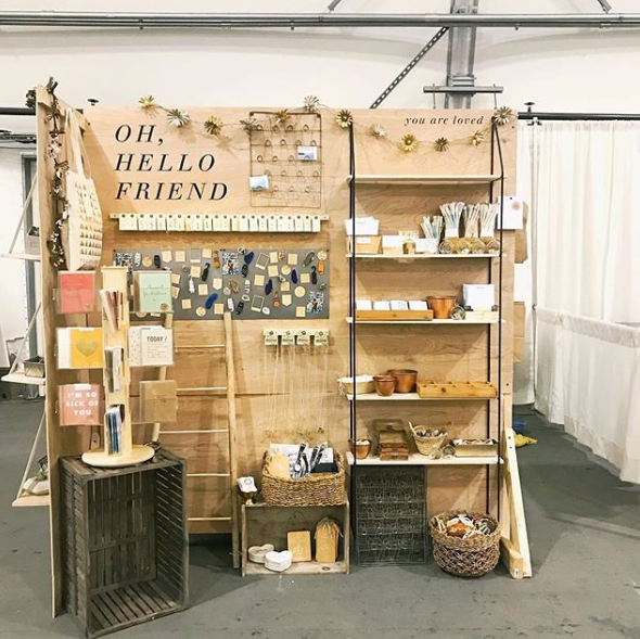 a wooden exhibition booth
