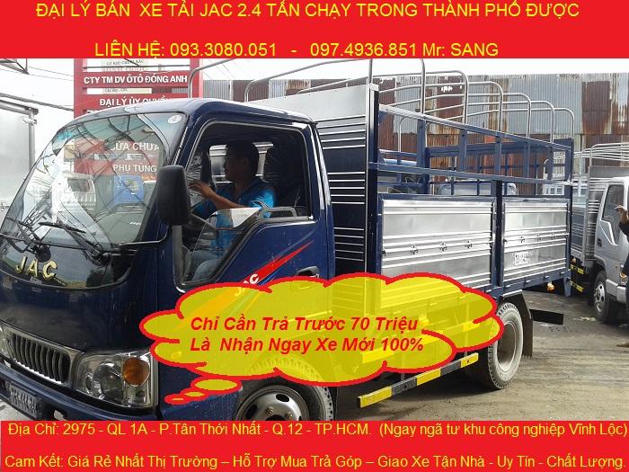 giá xe tải jac 2.4 tấn thùng kín, xe tải jac 2t4 chạy vào thành phố được.