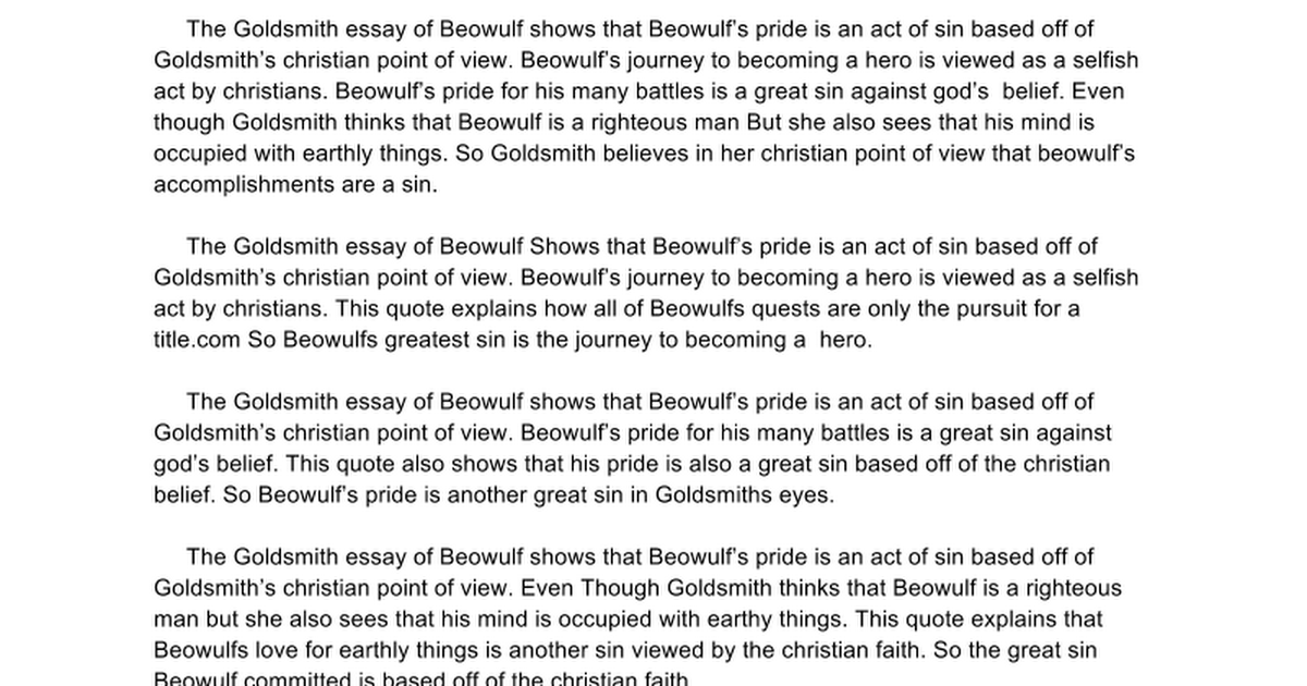 goldsmith essay google docs