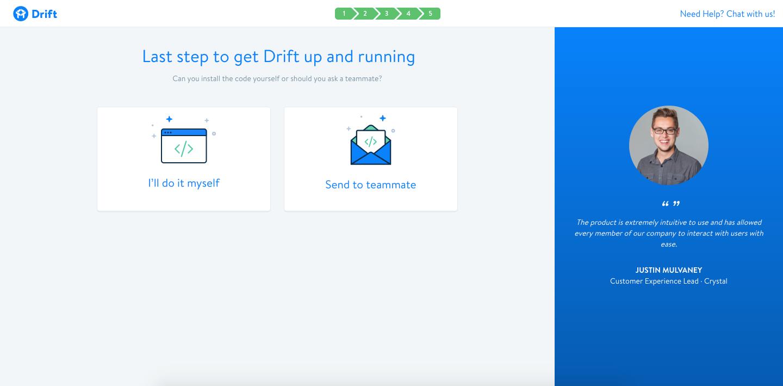 screenshot of last step in Drift onboarding process - installing website code
