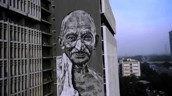 Image result for 2. Wall Mural of Mahatma Gandhi