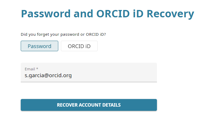 Image showing the ORCID password and ORCID ID Recovery screen