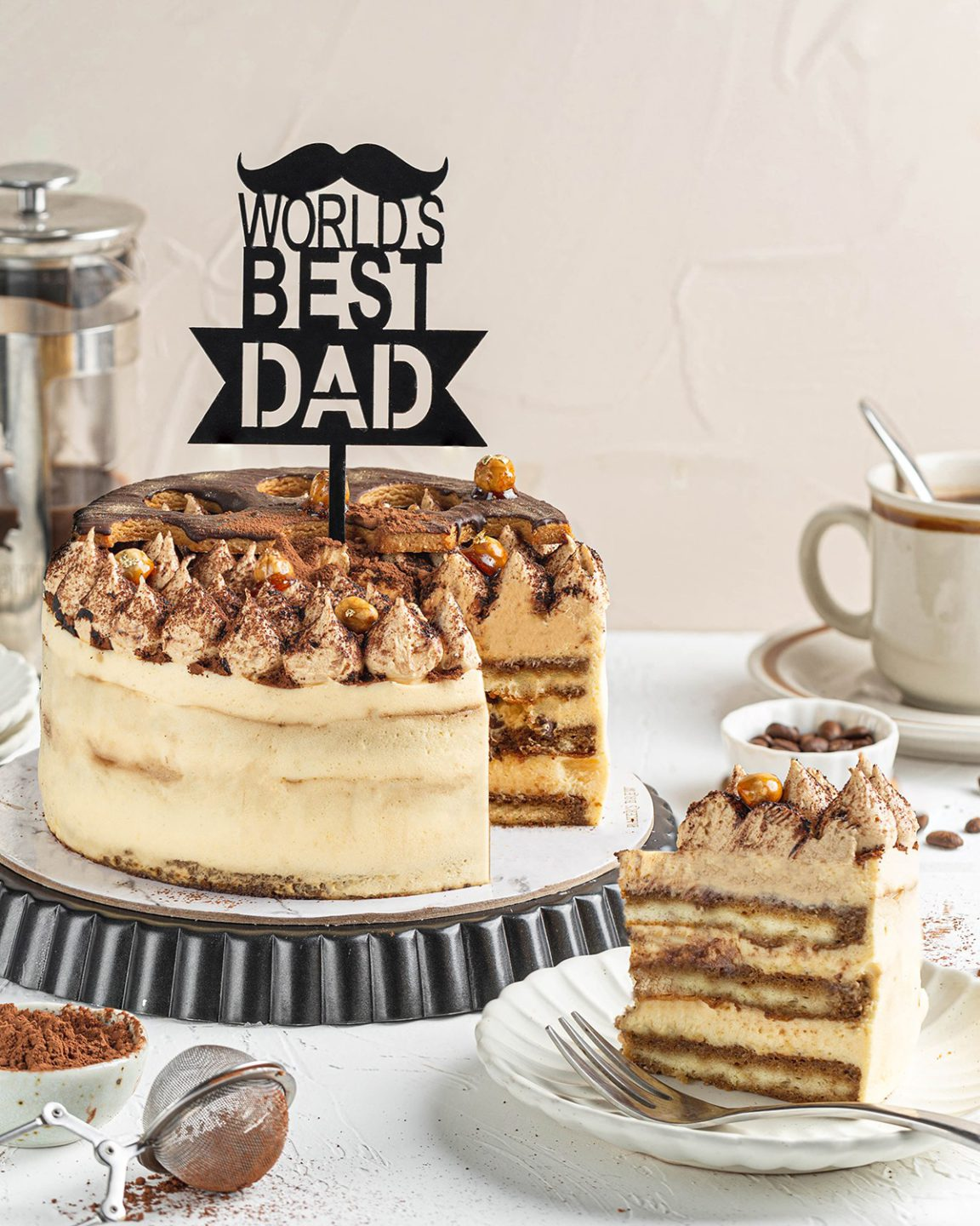 Peanut Butter Tiramisu Cake from Baker's Brew Studio, delivered islandwide in Singapore, powered by Oddle